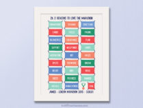 Marathon race bib print gift for marathon runner, give someone after marathon